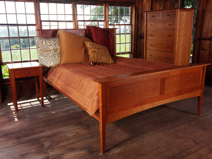 Darkened Cherry Wood in Solid Cherry Bedroom Set | Natural Sunlight Effect