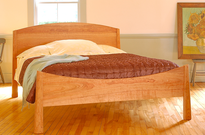 Cherry beds natural solid wood handcrafted in vermont for American made beds