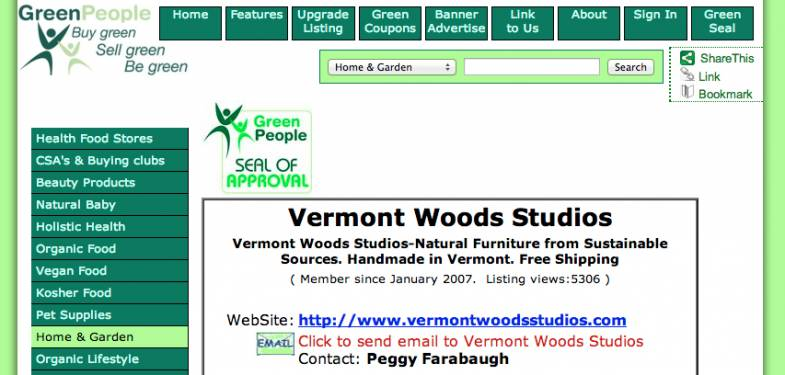 Green Furniture from VT | Certified Seal of Approval