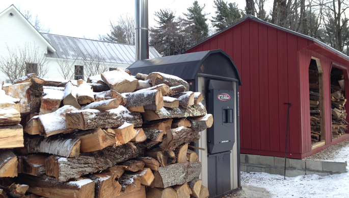The outdoor wood boiler that keeps us warm in the winter