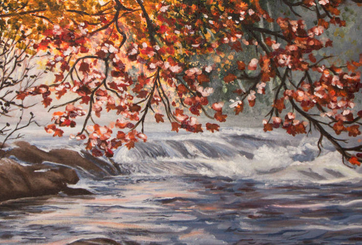A babbling brook and autumn leaves by Nina Markiw