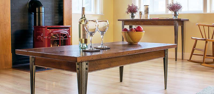Handcrafted Custom Reclaimed Wood and Metal Coffee and Sofa Tables