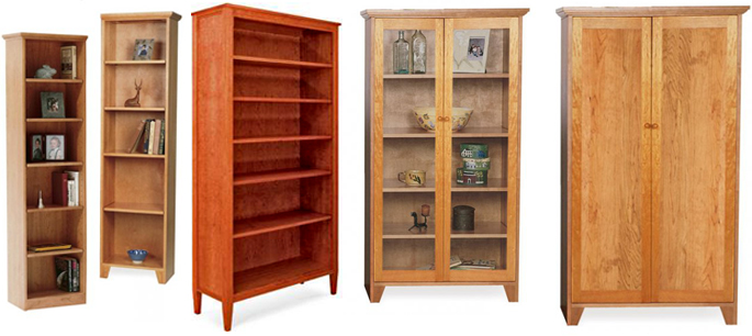 Tall Shaker Bookcases | Real Solid Hardwood | American Made
