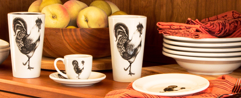 Specialty Handmade Ceramics: Rooster mugs, plates, bowls, vases by Laura Zindel. USA made in Vermont!