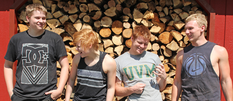 Vermont Woods Studios Furniture Interns: busy stacking 40 cords of firewood