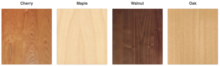Top Quality Hardwoods include American Cherry, Maple, Walnut, Oak