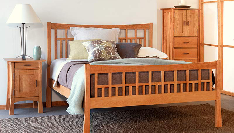 This craftsman style solid wood bedroom set has a modern flair