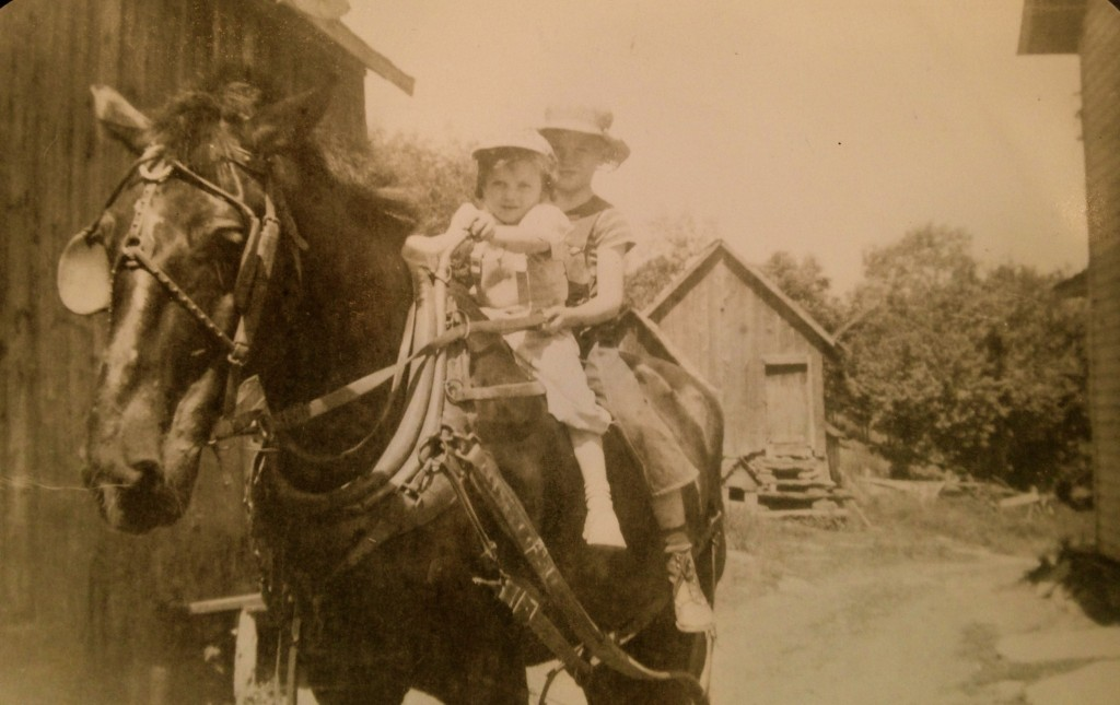 Dad and Aunt Joanie riding Tony at the O'Neil Family Farm in Dushore, Pennsylvania