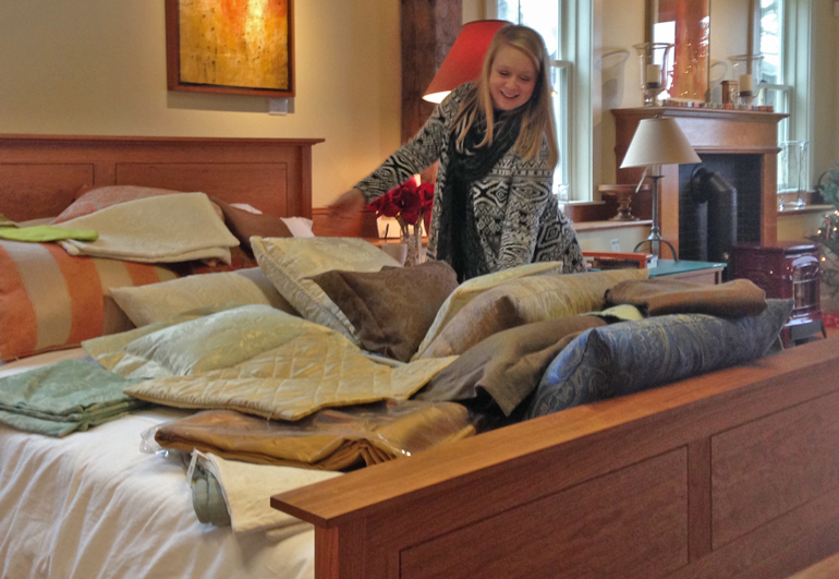Megan's taking on the difficult task of selecting a favorite from the many styles and colors of Anichini linens we brought back to our showroom at Stonehurst.