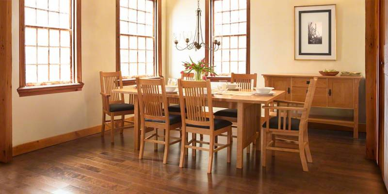 Our American Mission Dining Table And Matching Chairs In Cherry.