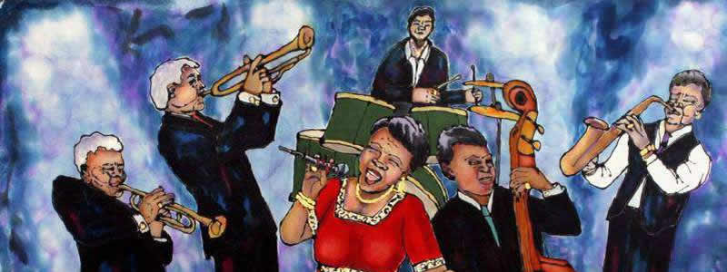 Featured here, Jazz Band by Linda Marcille. Paint on silk)