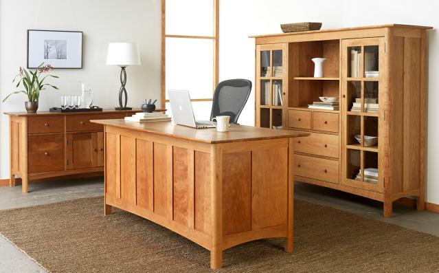 Modern Shaker Executive Desk with matching credenza and bookcase