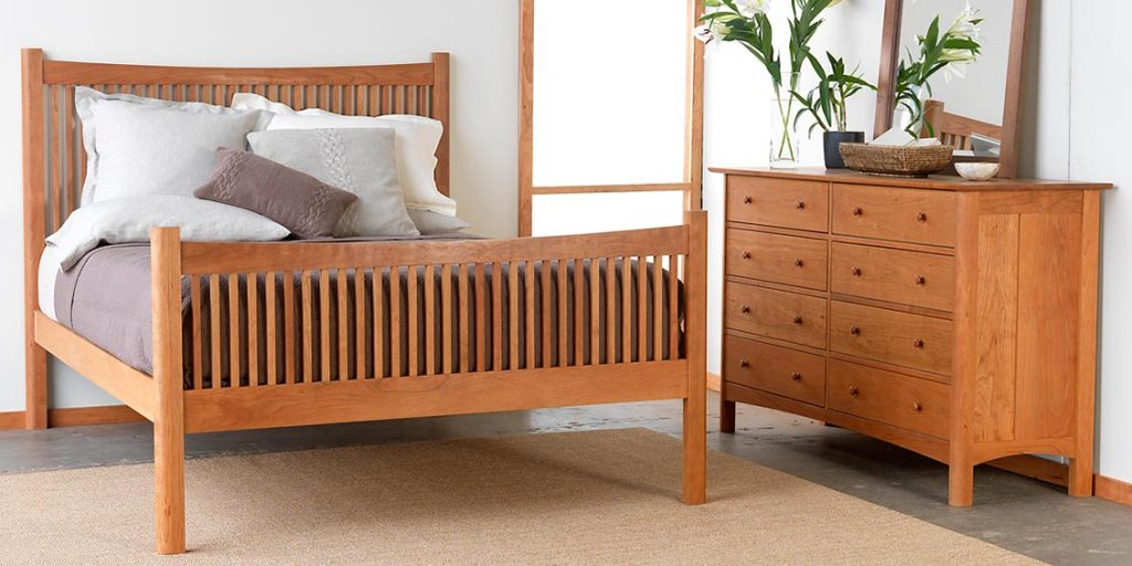 Modern Shaker High Footboard Bed and matching 8 drawer dresser