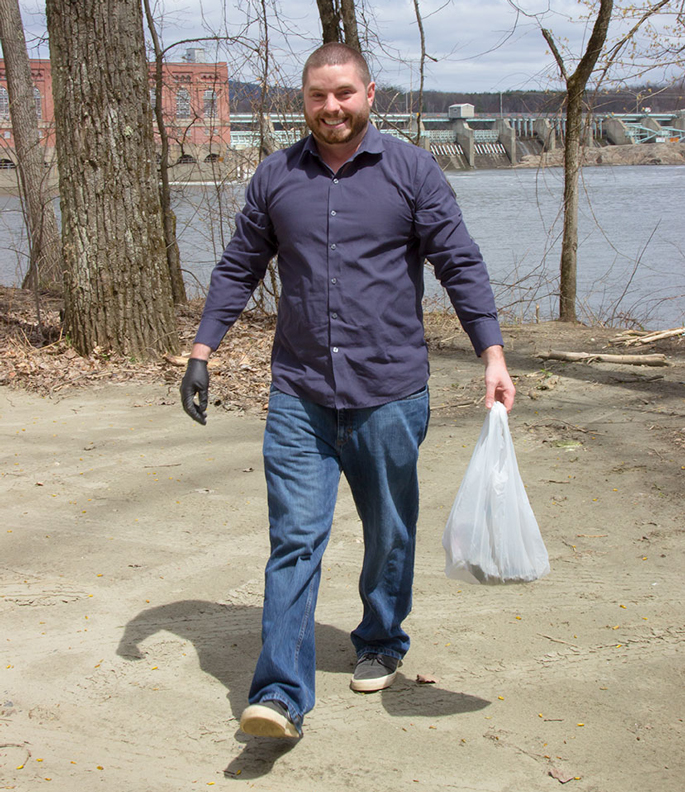 Sean's getting dirty greening up the Connecticut River beach in Vernon