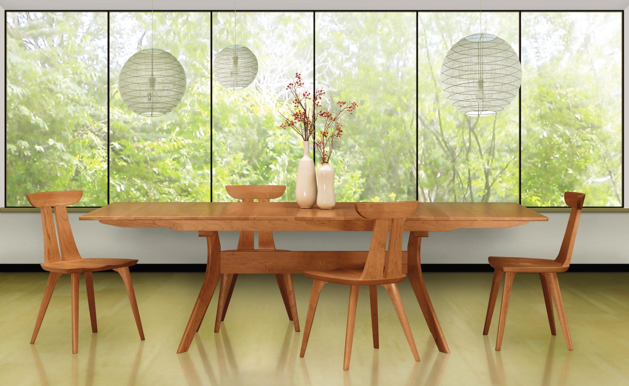 Audrey Dining Table in Cherry shown with Cherry Estelle Chairs