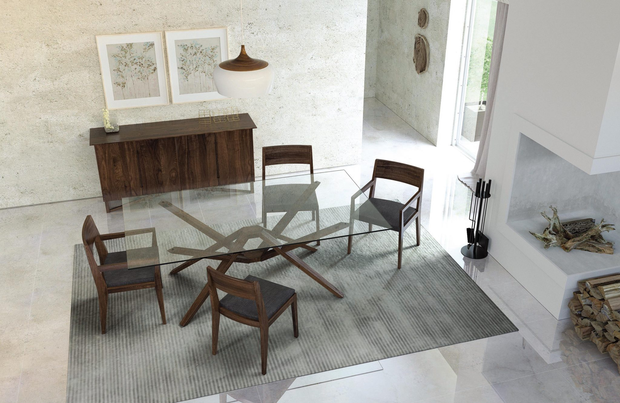 Exeter Glass Top Dining Table in Walnut with the Kyoto Walnut Dining Chair