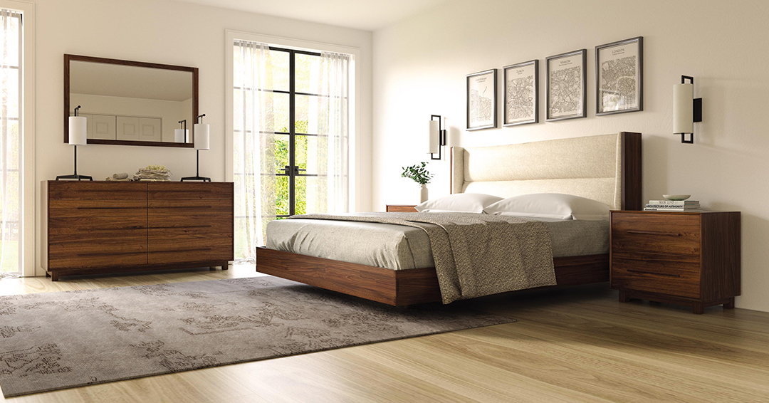 Bedroom collection with upholstered headboard
