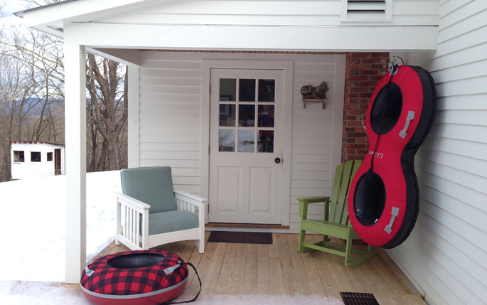 Vermont in Winter   Sledding at a Furniture Store?   Vermont Woods Studios