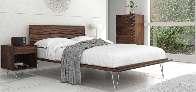 Copeland Wave Bed | Eco Friendly | Walnut and Maple Wood | Handcrafted in VT