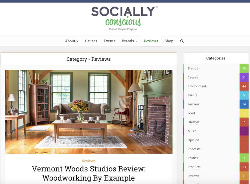 Socially Conscious Living Magazine | Vermont Woods Studios Review | Eco Friendly Home Decor
