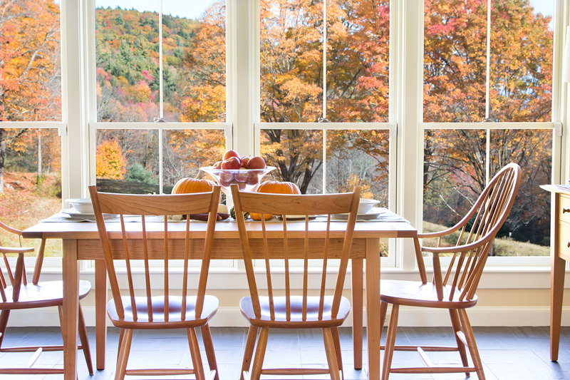 Vermont Shaker Harvest Dining Table | Windsor Chairs