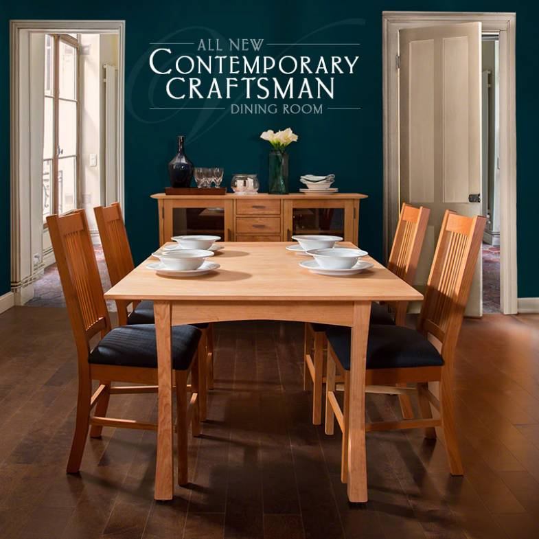 Contemporary Craftsman Dining Set | Handcrafted of Solid Cherry Wood