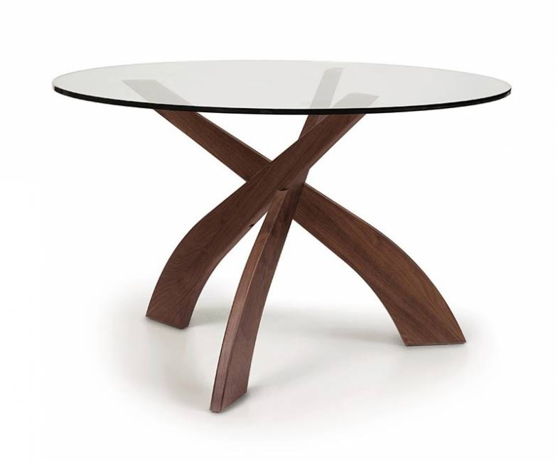 Copeland Entwine | Walnut Round Glass Top Dining Table | Vermont Woods Studios