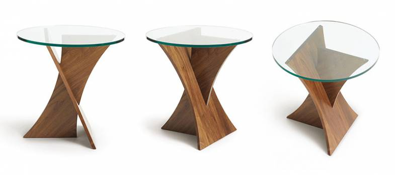 Copeland Planes | Walnut Round Glass Top End Table | Vermont Woods Studios