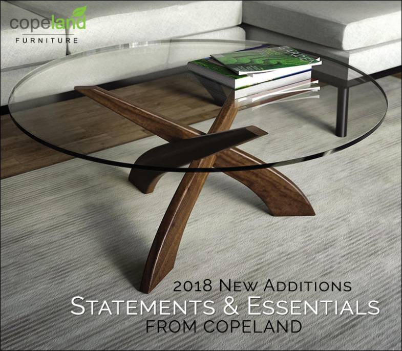 Copeland Statements Collection | Walnut Glass Top Tables | Vermont Woods Studios