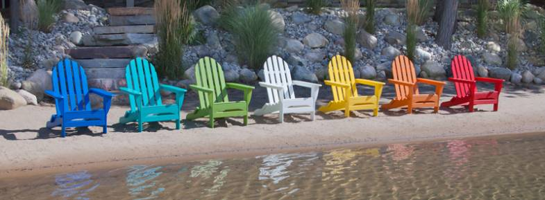 POLYWOOD recycled plastic outdoor furniture. Adirondack chairs in bright, bold colors.
