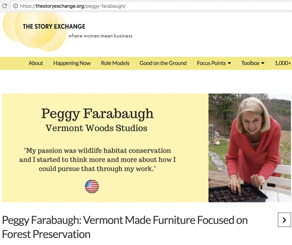 Peggy Farabaugh | Vermont Woods Studios | Green Furniture & Forest Conservation