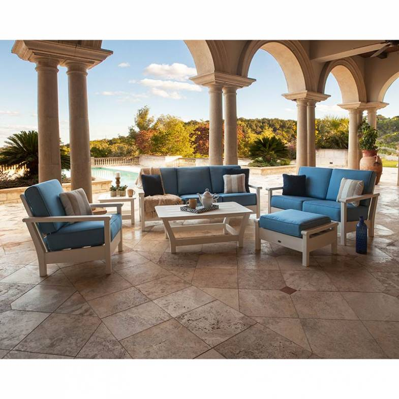 Outdoor deep seating club chairs, love seats, sofas. Sunbrella fabric. POLYWOOD Recycled Plastic Outdoor Furniture