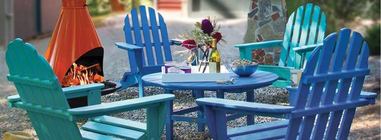 Classic Adirondack chairs. Blue, green & many bright colors. POLYWOOD Recycled Plastic Outdoor Furniture