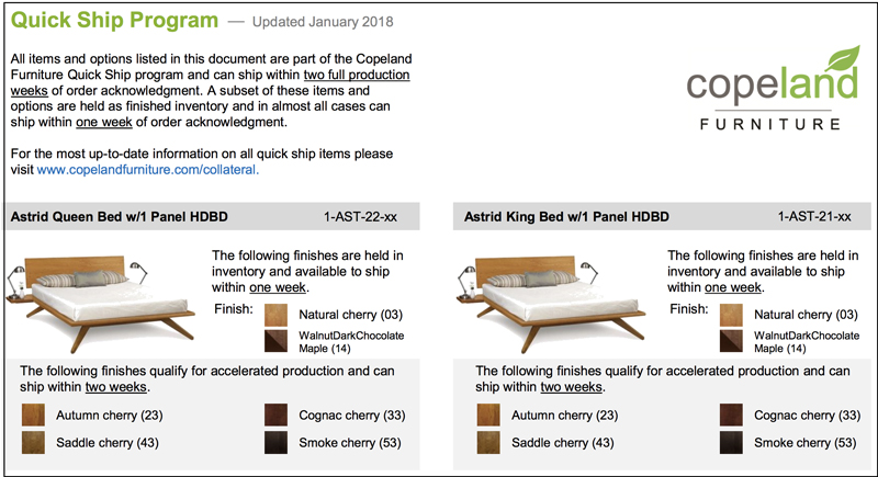 Copeland Quick Ship | Made To Order Furniture | Just 1 2 Weeks Crafting!