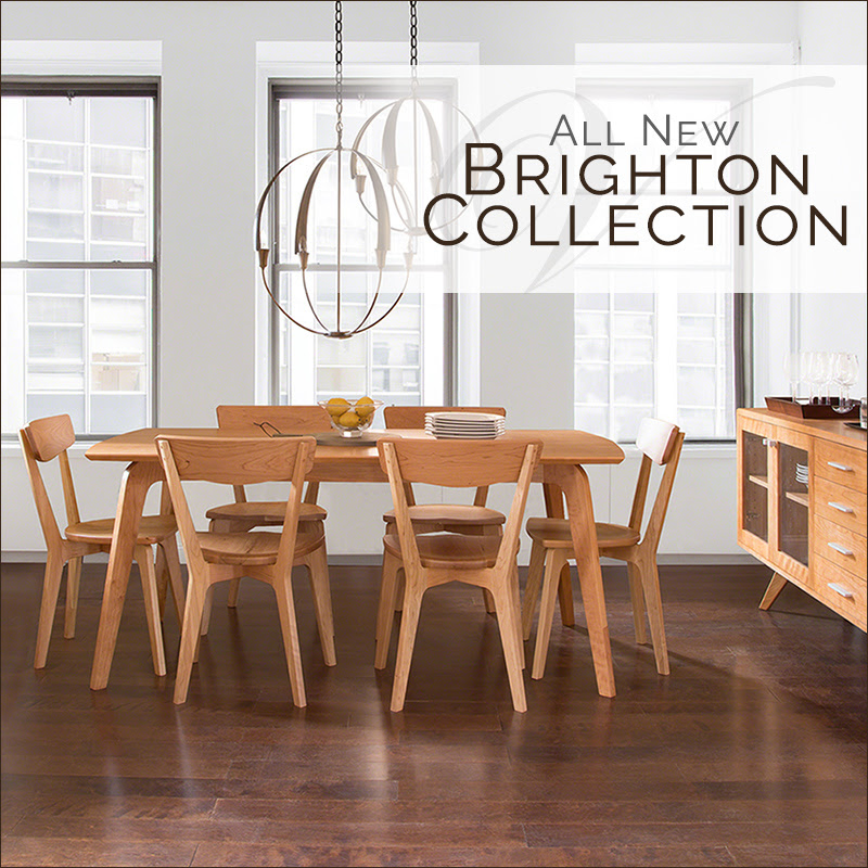 Brighton Danish Modern Dining Set | Solid Natural Cherry Wood | Vermont Woods Studios