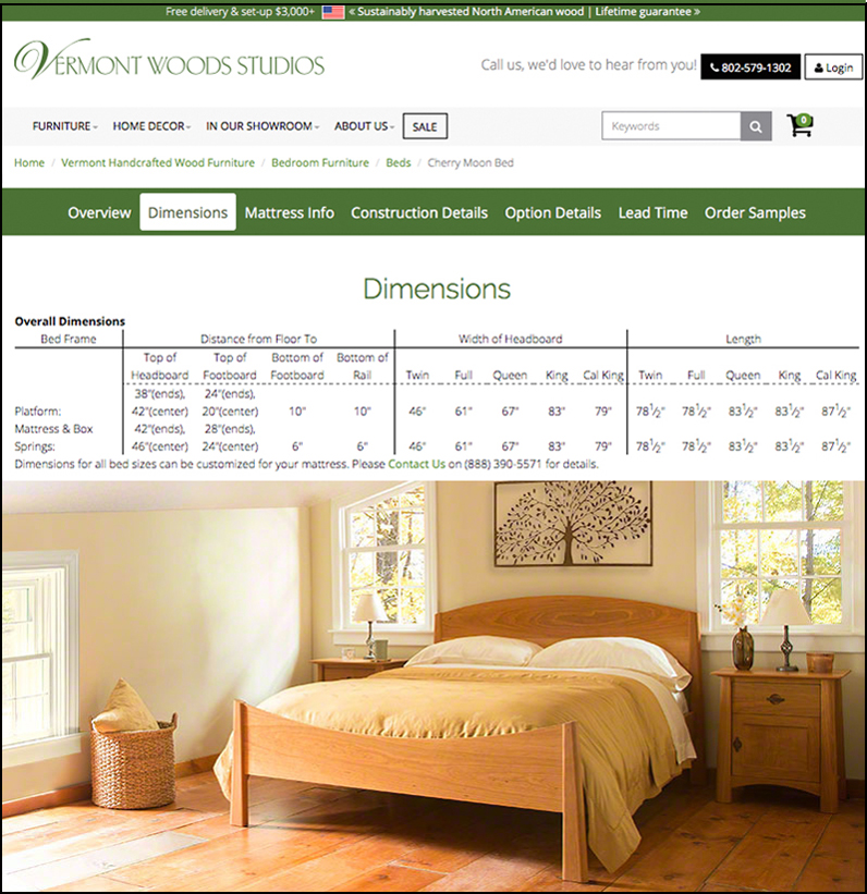 Will My Furniture Fit | Cherry Beds | Vermont Woods Studios