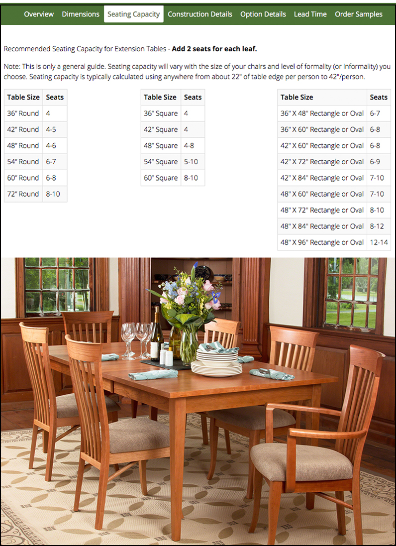 Will My Furniture Fit | Classic Shaker Dining Table | Vermont Woods Studios