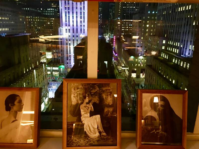The view from L'Avenue at Saks: Rockefeller Center, 5th Avenue, St Patrick's Cathedral, Radio city Music Hall.