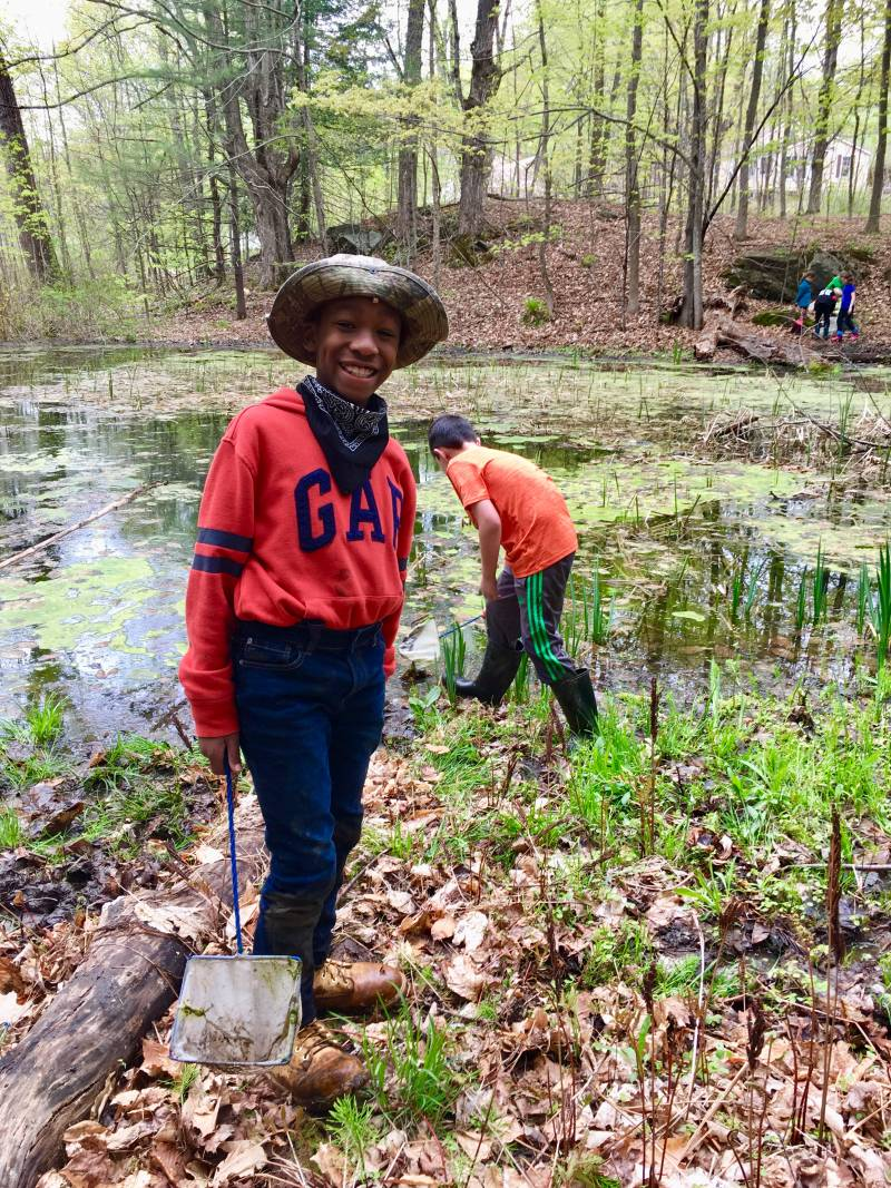 Third Grader taking samples at a forest pond | Environmental Science | Vermont Woods Studios