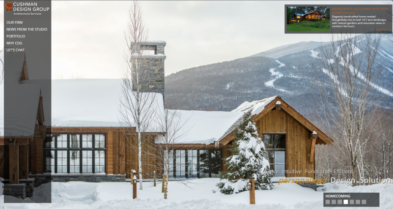 Mountain ski lodge designed by Cushman Architects in Stowe, VT