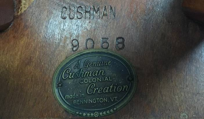 Cushman Furniture: Brand Plate for Cushman Colonial Creations