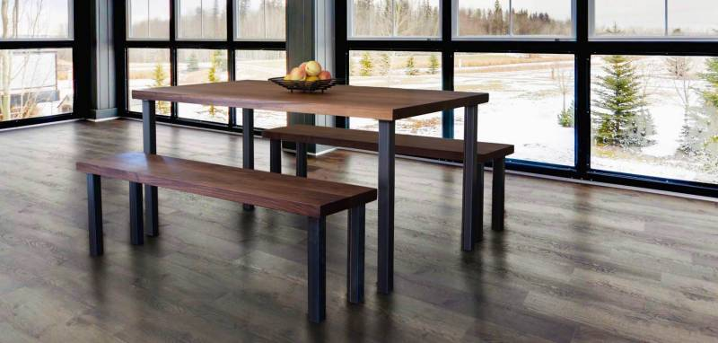 Modern Industrial Table | Walnut Wood | Vermont Woods Studios