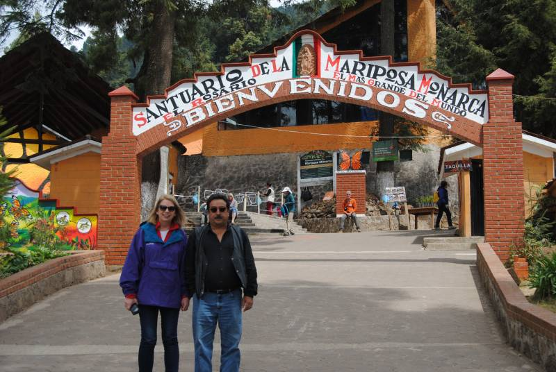 Peggy Farabaugh and Jose Luis Alvarez at the El Rosario Monarch Sanctuary in Mexico