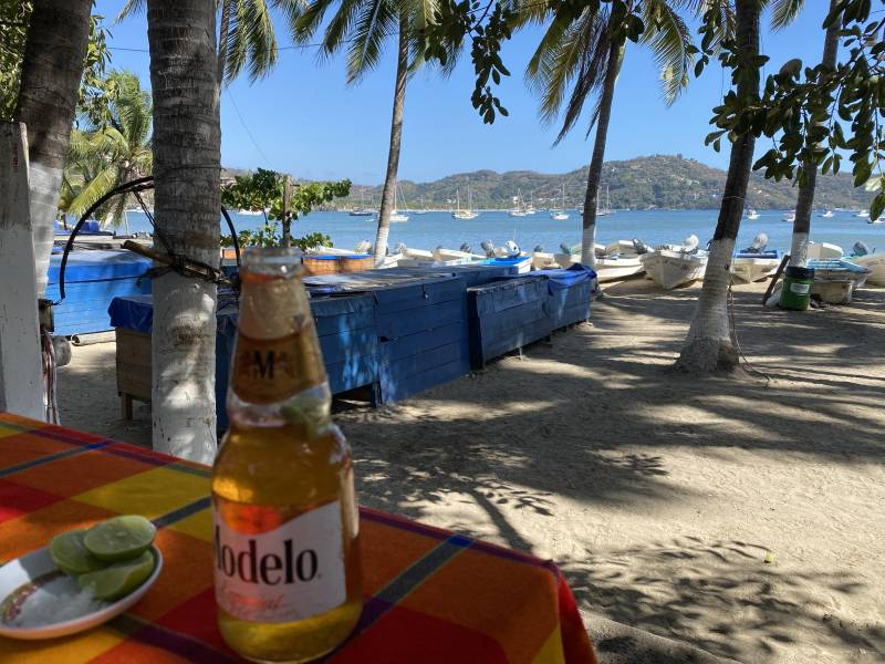 A View of the bay at Nina, Megan and Jose Luis enjoying lunch in Zihuatanejo