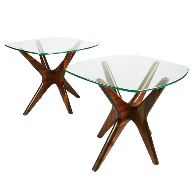 Adrian Pearsall's walnut base and glass top end tables
