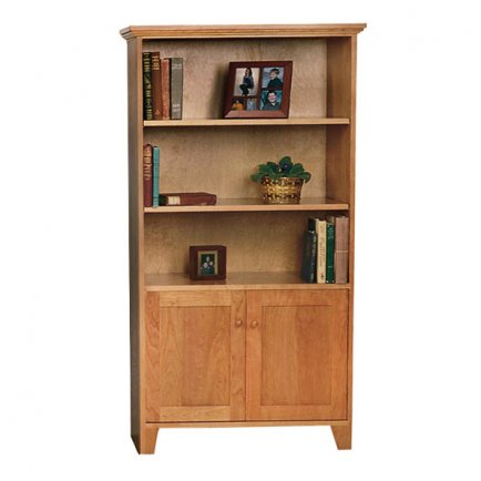 Solid Wood Bookcase with Panel Doors