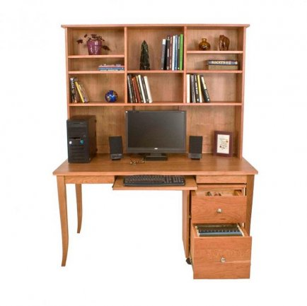 Solid Wood Flare Leg Writing Desk with Hutch