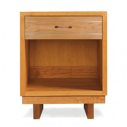 Contemporary Cable 1-Drawer Enclosed Shelf Nightstand