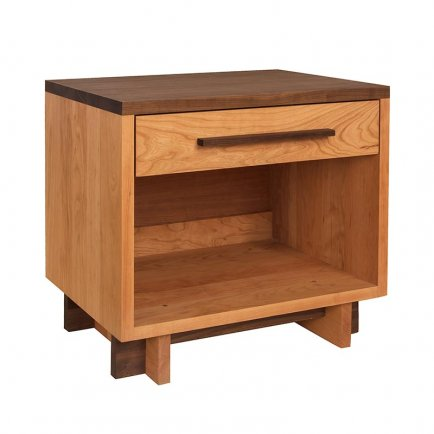Modern American 1-Drawer Enclosed Shelf Nightstand - Wide
