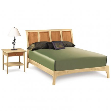Sarah Cherry & Maple Sleigh Bed - Low Footboard
